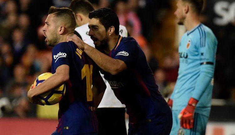 "Hasil Liga Spanyol : Valencia 1-1 Barcelona "" Alba Hindarkan Barcelona dari Kekalahan Pertama """